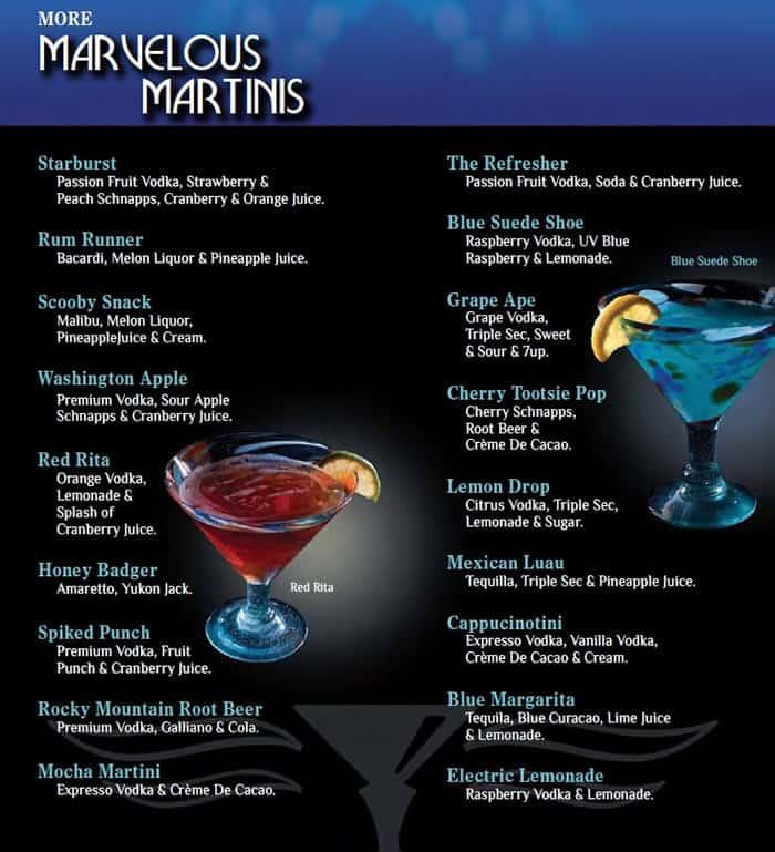 Blue Martini Food Menu